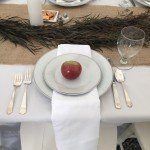 Typical wedding table setting for rehearsal dinner at Phineas Swann Bed and Breakfast in Vermont