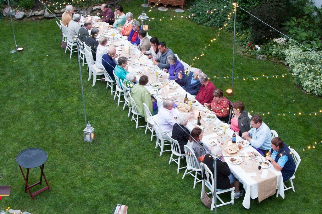 Farm to Table dinner in the gardens of the Phineas Swann Bed and Breakfast Inn near Jay Peak Vermont