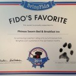BringFido.com names Phineas Swann a Fido's Favorite as a Vermont bed and breakfast reviews