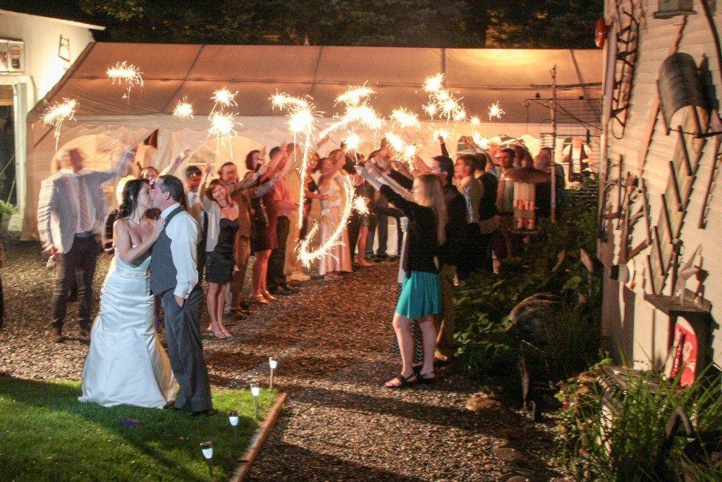 wedding reception timeline sparklers